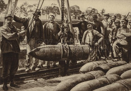 Crane lifting a French 16 inch artillery shell, World War I, 1914–1918. Illustration from Der Weltkrieg im Bild (Verlag Der Weltkrieg Im Bild, Munich, c1928).