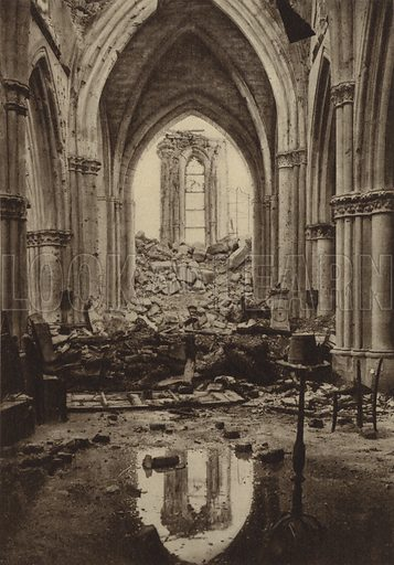 Ruined Church of Betheny, Marne, France, World War I, 13 January 1916. Illustration from Der Weltkrieg im Bild (Verlag Der Weltkrieg Im Bild, Munich, c1928).