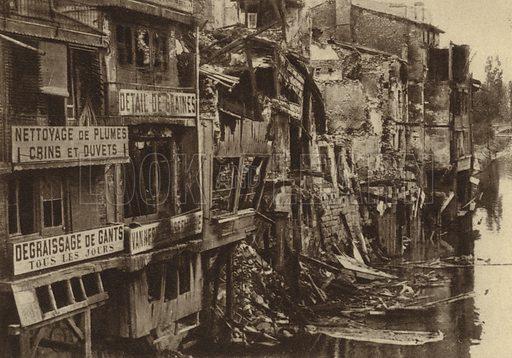 Buildings damaged by German shellfire on the banks of the River Meuse, Verdun, France, World War I, 1916. Illustration from Der Weltkrieg im Bild (Verlag Der Weltkrieg Im Bild, Munich, c1928).