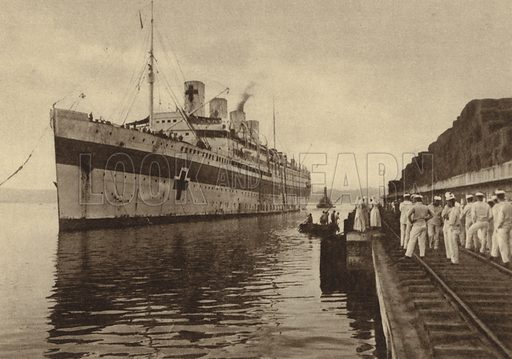 French hospital ship France arriving in the harbour of Toulon, France, carrying sick and wounded soldiers from the Salonika campaign, World War I, 1915-1916. Illustration from Der Weltkrieg im Bild (Verlag Der Weltkrieg Im Bild, Munich, c1928).