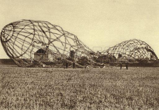 Wreckage of German Army Zeppelin L33 damaged and forced to land at Little Wigborough, Essex, World War I, 24 September 1916. Illustration from Der Weltkrieg im Bild (Verlag Der Weltkrieg Im Bild, Munich, c1928).