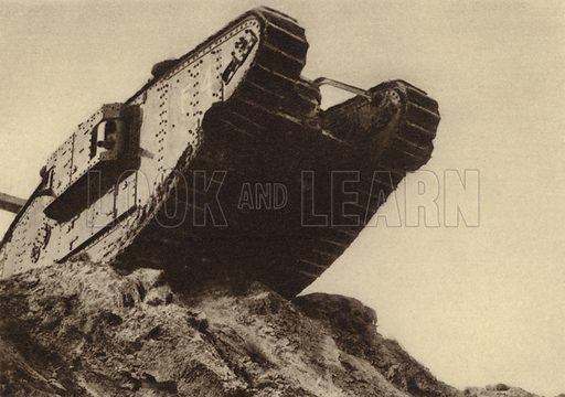 British tank advancing at the Battle of Cambrai, France, World War I, 20-29 November 1917. Illustration from Der Weltkrieg im Bild (Verlag Der Weltkrieg Im Bild, Munich, c1928).
