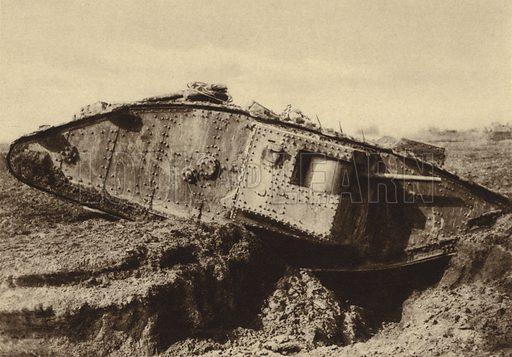 British tank passing over a trench, World War I, 1917-1918. Illustration from Der Weltkrieg im Bild (Verlag Der Weltkrieg Im Bild, Munich, c1928).