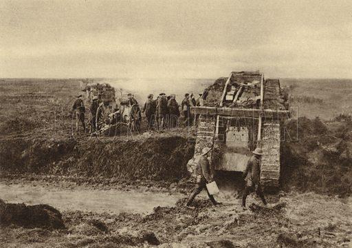 British tank squadron passing artillery positions at Graincourt on their way to attack Bourlon Wood, Battle of Cambrai, France, World War I, November 1917. Illustration from Der Weltkrieg im Bild (Verlag Der Weltkrieg Im Bild, Munich, c1928).