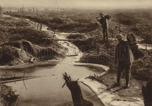British Army sappers carrying barbed wire to the front line, Ypres, Belgium, World War I, 18 February 1918. Illustration from Der Weltkrieg im Bild (Verlag Der Weltkrieg Im Bild, Munich, c1928).