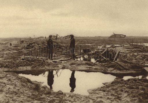 British tanks bogged down in the mud before they could reach the German lines at Ypres, Belgium, World War I, 15 February 1918. Illustration from Der Weltkrieg im Bild (Verlag Der Weltkrieg Im Bild, Munich, c1928).