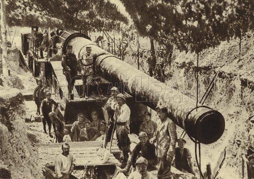 French 340 mm railway gun, Glisy, France, World War I, 2 June 1918. Illustration from Der Weltkrieg im Bild (Verlag Der Weltkrieg Im Bild, Munich, c1928).