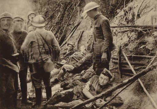 Casualty collection point behind the front lines at Longpont, Aisne, France, World War I, 18 July 1918. Illustration from Der Weltkrieg im Bild (Verlag Der Weltkrieg Im Bild, Munich, c1928).