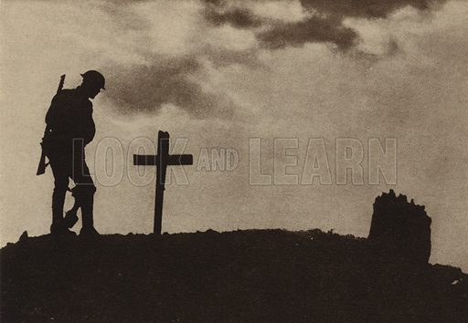 British soldier at the Grave of the Unknown Soldier, World War I, 1914-1918. Illustration from Der Weltkrieg im Bild (Verlag Der Weltkrieg Im Bild, Munich, c1928).
