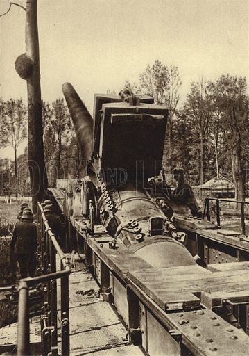 German 380 mm railway gun of the type used in the bombardments of Verdun and Dunkirk, France, World War I, 1914-1918. Illustration from Der Weltkrieg im Bild (Verlag Der Weltkrieg Im Bild, Munich, c1928).