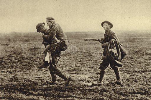 British prisoners taking a wounded German infantryman back to his lines, World War I, 1914-1918. Illustration from Der Weltkrieg im Bild (Verlag Der Weltkrieg Im Bild, Munich, c1928).