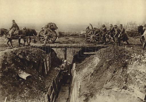 German field artillery crossing a trench via a bridge quickly erected by engineers, World War I, 1914-1918. Illustration from Der Weltkrieg im Bild (Verlag Der Weltkrieg Im Bild, Munich, c1928).