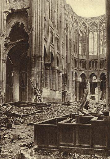 Interior of the Basilica of Saint Quentin, France, destroyed by Allied bombardment, World War I, 1917–1918. Illustration from Der Weltkrieg im Bild (Verlag Der Weltkrieg Im Bild, Munich, c1928).
