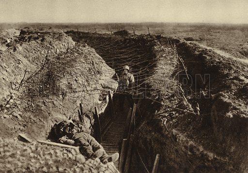 British trench captured by the Germans, between Bapaume and Arras, France, World War I, 1914-1918. Illustration from Der Weltkrieg im Bild (Verlag Der Weltkrieg Im Bild, Munich, c1928).