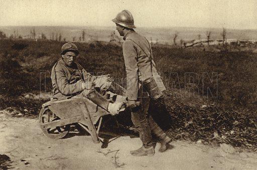 Captured French soldier transporting his wounded comrade in a wheelbarrow, World War I, 1914-1918. Illustration from Der Weltkrieg im Bild (Verlag Der Weltkrieg Im Bild, Munich, c1928).