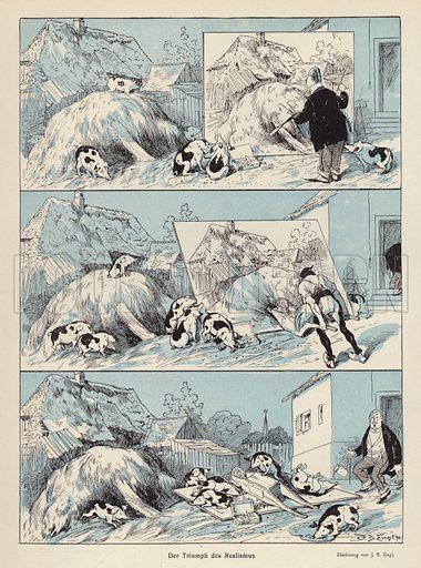 The Triumph of Realism. Illustration from Jugend, Muenchner Illustrierte Wochenschrift fur Kunst und Leben (G Hirth's Kunstverlag, Munich and Leipzig, 1896).