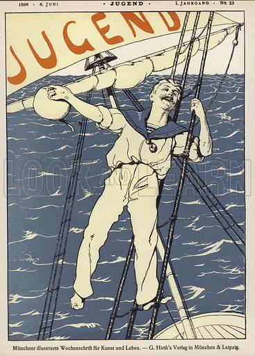 Sailor in the rigging of a ship. Cover illustration from Jugend, Muenchner Illustrierte Wochenschrift fur Kunst und Leben (G Hirth's Kunstverlag, Munich and Leipzig, 6 June 1896).