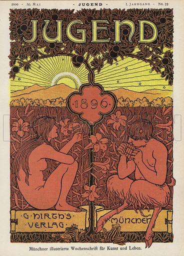 Pan and nymph. Cover illustration from Jugend, Muenchner Illustrierte Wochenschrift fur Kunst und Leben (G Hirth's Kunstverlag, Munich and Leipzig, 30 May 1896).