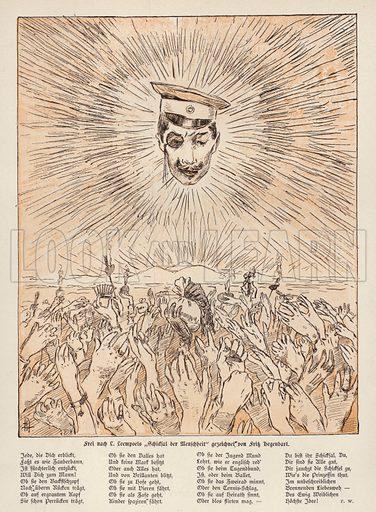 Destiny and Humanity, after the painting by Belgian artist Jef Leempoels. Illustration from Jugend, Muenchner Illustrierte Wochenschrift fur Kunst und Leben (G Hirth's Kunstverlag, Munich and Leipzig, 1896).