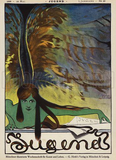 Cover illustration for Jugend magazine, 1896. Illustration from Jugend, Muenchner Illustrierte Wochenschrift fur Kunst und Leben (G Hirth's Kunstverlag, Munich and Leipzig, 16 May 1896).
