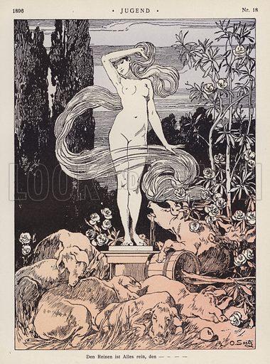 The Pure is All Pure. Illustration from Jugend, Muenchner Illustrierte Wochenschrift fur Kunst und Leben (G Hirth's Kunstverlag, Munich and Leipzig, 2 May 1896).