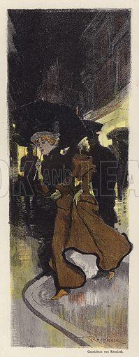 Woman walking on a rainy street at night. Illustration from Jugend, Muenchner Illustrierte Wochenschrift fur Kunst und Leben (G Hirth's Kunstverlag, Munich and Leipzig, 2 May 1896).