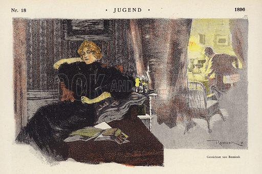 Woman at home in the evening