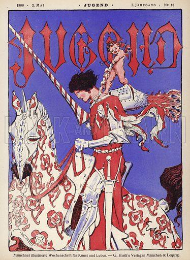Knight on horseback. Cover illustration from Jugend, Muenchner Illustrierte Wochenschrift fur Kunst und Leben (G Hirth's Kunstverlag, Munich and Leipzig, 2 May 1896).