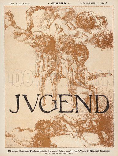 Cover illustration for Jugend magazine, 1896. Illustration from Jugend, Muenchner Illustrierte Wochenschrift fur Kunst und Leben (G Hirth's Kunstverlag, Munich and Leipzig, 25 April 1896).