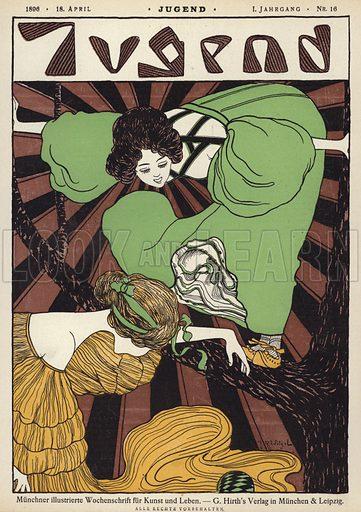 Cover illustration for Jugend magazine, 1896. Illustration from Jugend, Muenchner Illustrierte Wochenschrift fur Kunst und Leben (G Hirth's Kunstverlag, Munich and Leipzig, 18 April 1896).