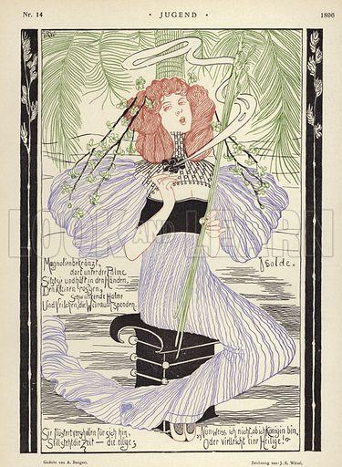 Isolde. Illustration from Jugend, Muenchner Illustrierte Wochenschrift fur Kunst und Leben (G Hirth's Kunstverlag, Munich and Leipzig, 4 April 1896).