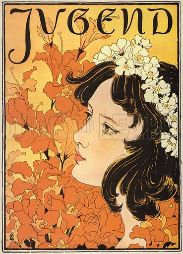 Portrait of a girl with flowers in her hair. Cover illustration from Jugend, Muenchner Illustrierte Wochenschrift fur Kunst und Leben (G Hirth's Kunstverlag, Munich and Leipzig, 4 April 1896).