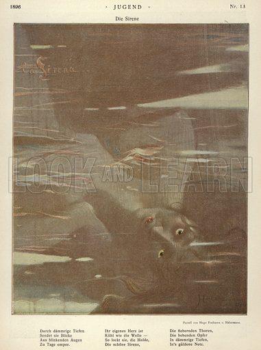 The Siren. Illustration from Jugend, Muenchner Illustrierte Wochenschrift fur Kunst und Leben (G Hirth's Kunstverlag, Munich and Leipzig, 28 March 1896).