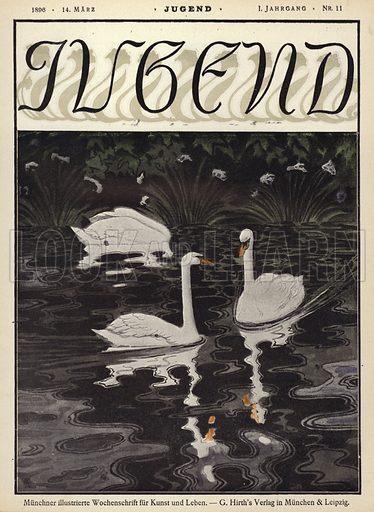 Swans on a lake. Cover illustration from Jugend, Muenchner Illustrierte Wochenschrift fur Kunst und Leben (G Hirth's Kunstverlag, Munich and Leipzig, 1896).