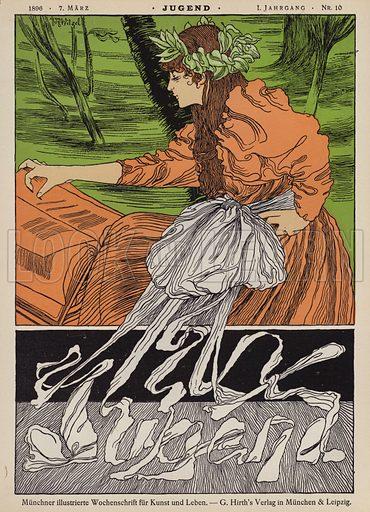 Cover illustration for Jugend magazine, 1896. Illustration from Jugend, Muenchner Illustrierte Wochenschrift fur Kunst und Leben (G Hirth's Kunstverlag, Munich and Leipzig, 7 March 1896).