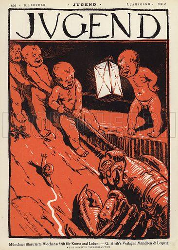 Cover illustration for Jugend magazine, 1896. Illustration from Jugend, Muenchner Illustrierte Wochenschrift fur Kunst und Leben (G Hirth's Kunstverlag, Munich and Leipzig, 1896).