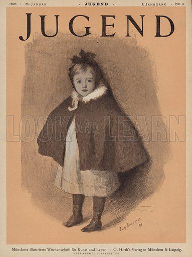 Portrait of a little girl wearing a cape. Cover illustration from Jugend, Muenchner Illustrierte Wochenschrift fur Kunst und Leben (G Hirth's Kunstverlag, Munich and Leipzig, 1896).