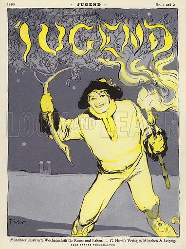 Man holding a branch and a torch. Cover illustration from Jugend, Muenchner Illustrierte Wochenschrift fur Kunst und Leben (G Hirth's Kunstverlag, Munich and Leipzig, January 1896).