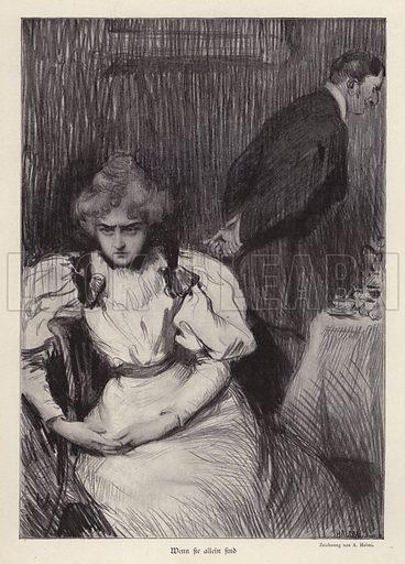 When She is Alone. Illustration from Jugend, Muenchner Illustrierte Wochenschrift fur Kunst und Leben (G Hirth's Kunstverlag, Munich and Leipzig, 1896).