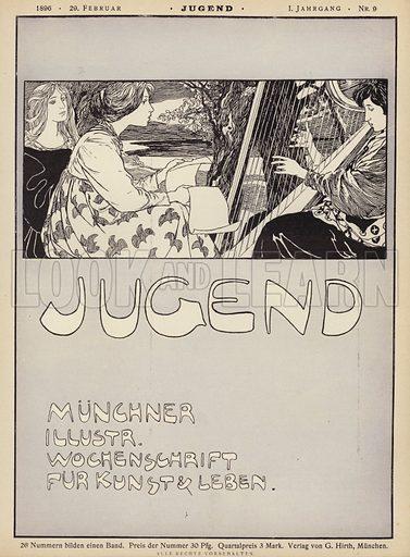 Woman playing a harp. Cover illustration from Jugend, Muenchner Illustrierte Wochenschrift fur Kunst und Leben (G Hirth's Kunstverlag, Munich and Leipzig, 29 February 1896).