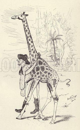 Drunk in the Transvaal being taken home by a giraffe. Illustration from Jugend, Muenchner Illustrierte Wochenschrift fur Kunst und Leben (G Hirth's Kunstverlag, Munich and Leipzig, 8 February 1896).