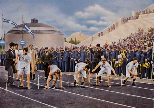 Athletes using various techniques at the start of the men's 100 metres at the Olympic Games in Athens, Greece, 1896. The race was won by Tom Burke (second from left), of the United States. Illustration from Die Olympischen Spiele 1936 (Cigaretten-Bildendienst Hamburg-Bahrenfeld, 1936).