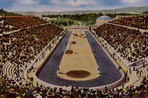 Panathenaic Stadium, Athens, Greece, venue for the 1906 Olympic Games. Illustration from Die Olympischen Spiele 1936 (Cigaretten-Bildendienst Hamburg-Bahrenfeld, 1936).