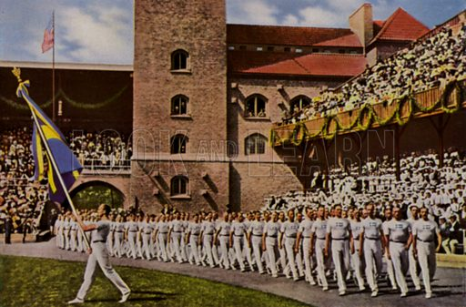 Swedish team entering the Olympic Stadium during the opening ceremony of the 1912 Olympic Games, Stockholm, Sweden. Illustration from Die Olympischen Spiele 1936 (Cigaretten-Bildendienst Hamburg-Bahrenfeld, 1936).