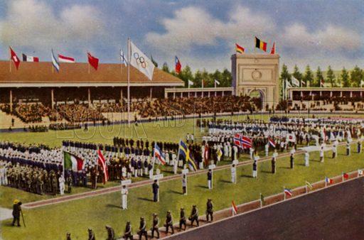 Opening ceremony of the !920 Olympic Games, Antwerp, Belgium. Illustration from Die Olympischen Spiele 1936 (Cigaretten-Bildendienst Hamburg-Bahrenfeld, 1936).