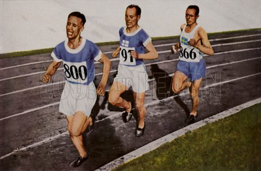 Ville Ritola of Finland leading his compatriot Paavo Nurmi and Edvin Wide of Sweden during the men's 10,000 metres at the 1928 Olympic Games, Amsterdam, Netherlands. Nurmi won the gold medal, Ritola silver, and Wide bronze. Illustration from Die Olympischen Spiele 1936 (Cigaretten-Bildendienst Hamburg-Bahrenfeld, 1936).