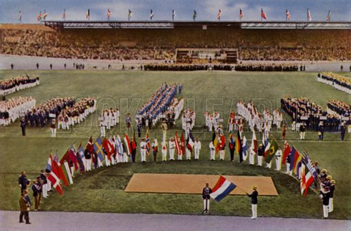Dutch footballer and flag bearer Harry Denis taking the Olympic Oath on behalf of all the competing athletes at the opening ceremony of the 1928 Olympic Games, Amsterdam, Netherlands. Illustration from Die Olympischen Spiele 1936 (Cigaretten-Bildendienst Hamburg-Bahrenfeld, 1936).
