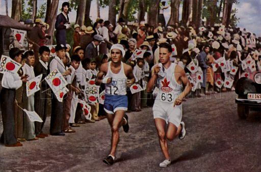 Eventual winner Juan Carlos Zabala of Argentina passing a Canadian runner in front of a crowd of Japanese supporters during the marathon at the 1932 Olympic Games, Los Angeles, USA. Illustration from Die Olympischen Spiele 1936 (Cigaretten-Bildendienst Hamburg-Bahrenfeld, 1936).