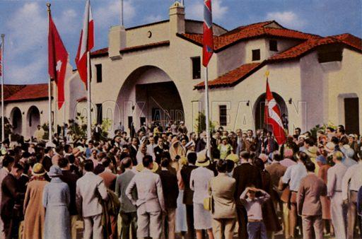 The athletes' village at the 1932 Olympic Games, Los Angeles, USA. Illustration from Die Olympischen Spiele 1936 (Cigaretten-Bildendienst Hamburg-Bahrenfeld, 1936).