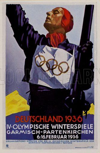 Poster for the 1936 Winter Olympic Games, Garmisch-Partenkirchen, Germany. Illustration from Die Olympischen Spiele 1936 (Cigaretten-Bildendienst Hamburg-Bahrenfeld, 1936).
